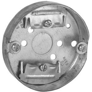 "Hubbell-Raco 287 3-1/2"" Ceiling Pan, 3/4"" Deep, 1/2"" and 3/4"" KOs, Metallic"