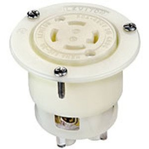 Leviton 2736 Flanged Outlet Locking Receptacle, 30A, 480V, 3-phase, L16-30R, White