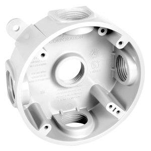 "Hubbell-TayMac PRB57550WH Weatherproof Box, 4"" Round, Depth: 1.125"", Non-Metallic"
