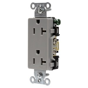 Hubbell-Wiring Kellems DR20GRY Decora Duplex Receptacle, 20A, 125V, Gray, 5-20R