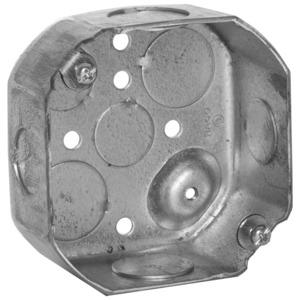 "Hubbell-Raco 127 4"" Octagon Box, 1-1/2"" Deep, 1/2"" & 3/4"" KOs, Drawn, Steel"