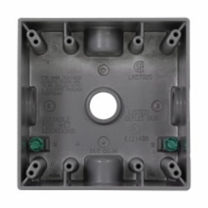 "Cooper Crouse-Hinds TP7122 Weatherproof Outlet Box, 2-Gang, Depth: 2"", (5) 3/4"" Hubs, Aluminum"
