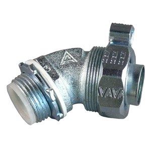 "Appleton STB-4575L Liquidtight Connector, 3/4"", 45°, Insulated, Grounding Lug, Steel"