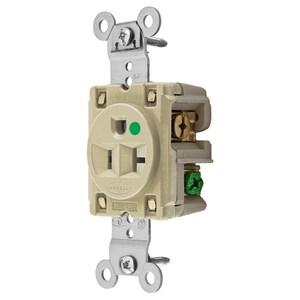 Hubbell-Wiring Kellems HBL8310I Hospital Grade Single Receptacle, 20A, 125V, 5-20R, Ivory