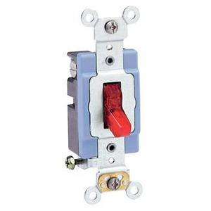 Leviton 1201-PLR Single-Pole Pilot Light Toggle Switch, 15A, 120V, Red, LIT WHEN ON
