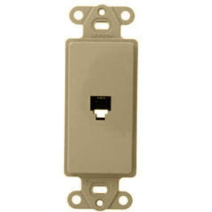 Leviton 40649-T Wallplate Insert, Decora, Telephone Jack, 6P4C, Flush, Light Almond