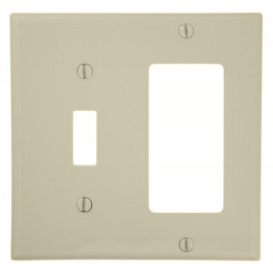 Leviton 80707-T Comb. Wallplate, 2-Gang, Toggle/Decora, Nylon, Lt Almond, Standard