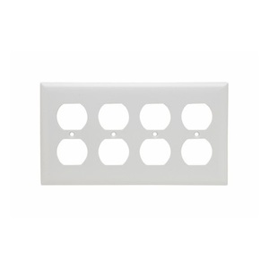 Pass & Seymour SP84-W Duplex Wallplate, 4-Gang, Thermoset, White