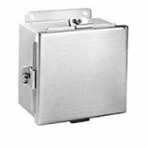 "Hubbell-Wiegmann BN4040403SS Junction Box, NEMA 4X, Clamp Cover, 4"" x 4"" x 3"""