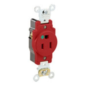 Leviton 8210-R Hospital Grade Single Receptacle, 15A, 125V, Red, Extra Heavy-Duty