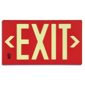 Panduit PSSE020RD Glow in the Dark Exit Sign, PL CS, 1 FAC