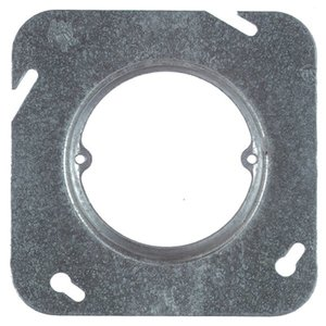 "Steel City 72-C-3-1 4-11/16"" Square Fixture Cover, Mud Ring, 1"" Raised, Drawn, Steel"