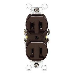 Leviton 223 15 Amp, 125 Volt, Duplex NEMA 1-15R, Brown