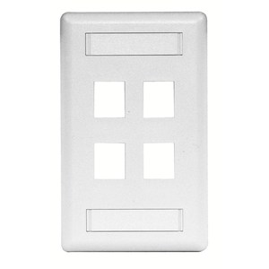 Hubbell-Premise IFP14W Module Faceplate, 4-Port, 1-Gang, White, Labeling Window
