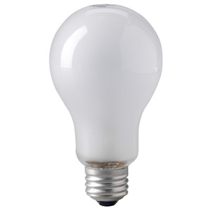 Eiko 150A/RS Incandescent Bulb, Rough Service, A21, 150W, 130V, Frosted