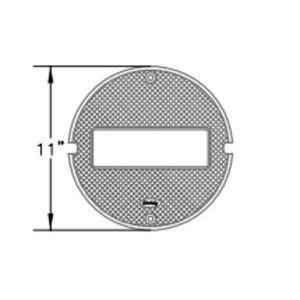 "Oldcastle Precast G05CT-GROUND Round Cast Iron Lid, Diameter: 11"", Legend: GROUND"