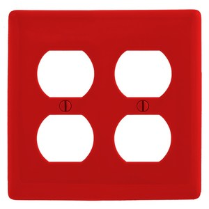 Hubbell-Bryant NP82R Duplex Receptacle Wallplate, 2-Gang, Nylon, Red