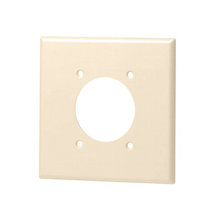 """Leviton 80526-T 2-Gang Single Rcpt Wallplate, (1) 2.150"""" Hole, Thermoset"""