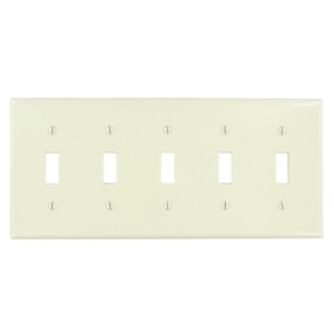 Leviton 78023 Toggle Switch Wallplate, 5-Gang, Thermoset, Lt. Almond