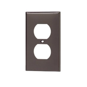 Leviton 80703 Duplex Receptacle Wallplate, 1-Gang, Nylon, Brown