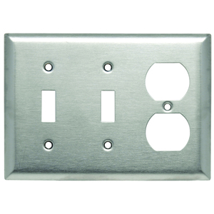 Hubbell-Wiring Kellems SS28 WALLPLATE, 3-G, SW/SW/DUP *** Discontinued ***