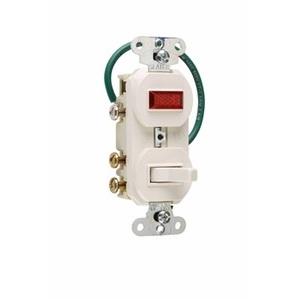 Pass & Seymour 695-LAG 3-Way Switch/Pilot Light Combo, 15A, Light Almond