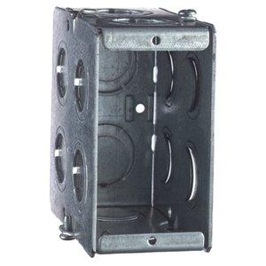 "Steel City GW-135-G Masonry Box, 1-Gang, 3-1/2"" Deep, 1/2"" & 3/4"" KOs, Steel"