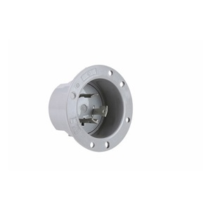 Pass & Seymour L630-FI Flanged Inlet, 30 Amp, 250V, Gray