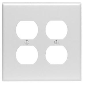 Leviton PJ82-W Duplex Receptacle Wallplate, 2-Gang, Nylon, White, Midway