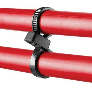 "Panduit PLB2S-C0 Double Loop Cable Tie, Standard, UV Black Nylon, 7.6"" Long, 100/PK"
