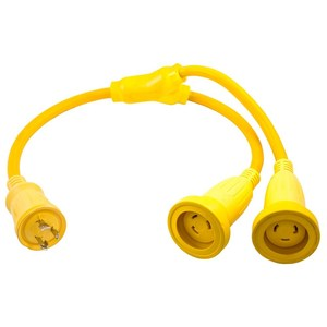 Hubbell-Kellems HBL64CM56 Permits use of two 30A 125V cable sets, #HBL61CM08, with one 30A 125V receptacle, #HBL26CM10.