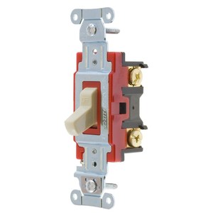 Hubbell-Kellems 1221I Single Pole Switch, 20A, 120/277V, Ivory, Heavy Industrial