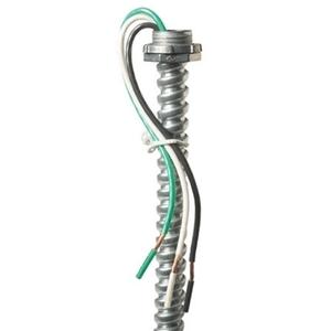 "EPCO EPW1463 Metallic Whip, 14/3 AWG Stranded, 3/8"" Flex, 6' Long"