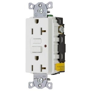 Hubbell-Bryant GF20WLA GFCI Receptacle, 20A, 125V, White