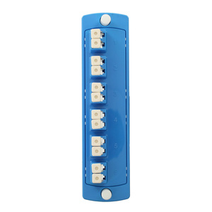Leviton 5F100-2LL Molded Plate, Blue, Single-Mode OS1/2, Duplex LC, 12 Fibers, Ceramic Sleeve