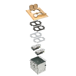 "Arlington FLB5551MB Floor Box Kit with Brass Cover, 1-Gang, (2) Flip Lids, Depth: 3.725"""