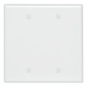 Leviton PJ23-W Blank Wallplate, 2-Gang, Nylon, White, Midway