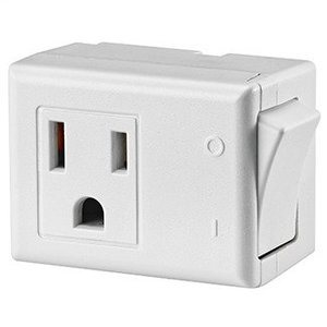 Leviton 1470-W 15 Amp, 125 V AC 3-Wire Grounded Switch Tap with ON/OFF Button - WHITE