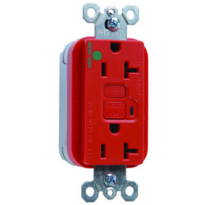 Pass & Seymour PT2095-HGRED Plugtail Hospital Grade GFCI Receptacle, 20A, Red