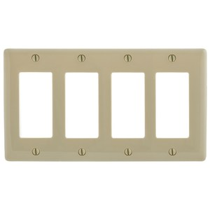 Hubbell-Bryant NP264I Decora Wallplate, 4-Gang, Nylon, Ivory