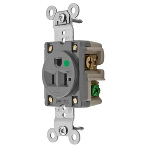 Hubbell-Wiring Kellems HBL8310GY Hospital Grade Single Receptacle, 20A, 125V, Gray