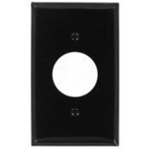 "Leviton 80704-E 1-Gang Single Rcpt Wallplate, (1) 1.406"" Hole, BK Nylon"