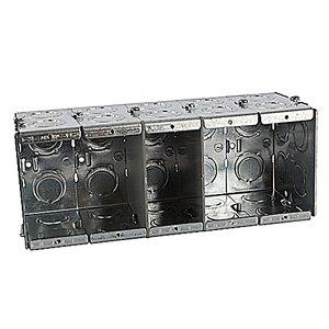 "Steel City GW-535-G Masonry Box, 5-Gang, Gangable, 3-1/2"" Deep, 1/2 and 3/4"" KOs, Steel"