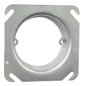 "Steel City 52-C-3-1 4"" Square Fixture Cover, Mud Ring, 1"" Raised, Drawn, Metallic"