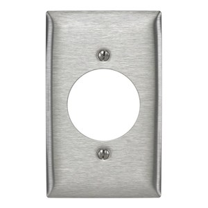 "Hubbell-Wiring Kellems SS725 Single Receptacle Wallplate, 1-Gang, (1) 1.74"" Hole, Stainless Steel"