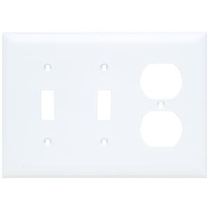 Pass & Seymour TP28-W Wallplate, 3-Gang, (2) Toggle, (1) Duplex, Nylon, White