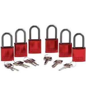 "Brady 51370 Aluminum Padlock, 1-1/2"" Shackle, Red, Keyed Different 6 Pack"