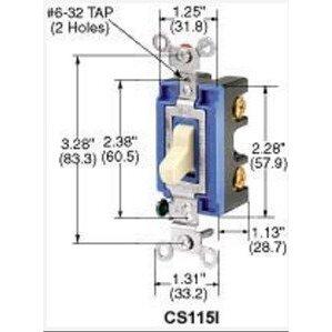 Hubbell-Kellems CS315W Switch, Toggle, 3-Way, 15A, 120/277VAC, White