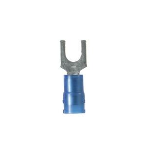 Panduit PN14-8F-C Fork Terminal, Nylon Insulated, 16-14 AWG, #8 Bolt, Blue