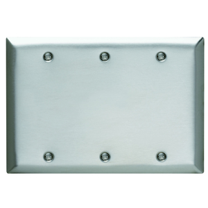 Pass & Seymour SS33 Blank Wall Plate, 3-Gang, Stainless Steel, Standard, White, Box Mount